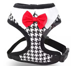 Dog Harness Black & White w Red Bow Tie & D Ring for Leash Vest Puppy