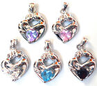 MOTHER & CHILD PENDANT Charm CZ Heart Gem .925 STERLING SILVER (5 Stone Colors)