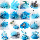 Blue Lady Pillbox Hat Cap Fascinator Feather Hair Clip Cocktail Party Accessory