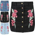 New Womens Ladies Button Down Rose Embroidered A-line Jeans Mini Denim Skirt