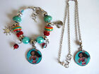Girls Kids Acrylic Bead Bracelet, Necklace, Set Princess Moana Charm FREE Bag K5