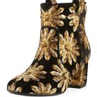 LAURENCE DACADE WOMENS BELEN METALLIC EMBROIDERED VELVET WESTERN BOOTIE