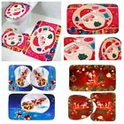 3pcs Toilet Seat Covers Christmas Decorations Xmas Bathroom Rug Mat Set Non-Slip