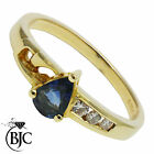 BJC® 18ct Yellow gold Sapphire & Diamond Pear size M engagement dress ring R277