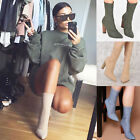 Ladies womens ankle pointy boots lycra faux suede denim zip up shoes size