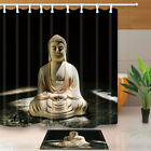 Statue buddha Shower Curtain Bathroom Decor Fabric & 12hooks 71*71inches