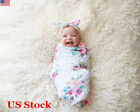 Newborn Baby Floral Swaddle Wrap Bassine Swaddling Sleeping Bag Blanket Headband