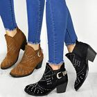 Ladies Womens Studded Cuban Heel Western Chelsea Ankle Boots Buckle Shoes Size