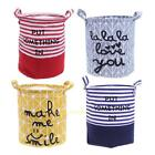 Foldable Washing Laundry Basket Hamper Cotton Linen Clothes Toy Storage Bag