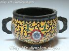 Marked China Cloisonne Enamel Bronze 3 Foot Ding Incense Burner Censer Statue