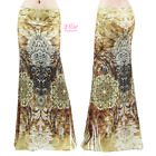 Women's LONG SKIRT Moroccan Boho Floral Brown Maxi (S/M/L/XL/1XL/2XL/3XL)