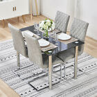 Black/Clear Glass Top Table and Dining Chairs x4 Chrome Leather Kitchen Room Set