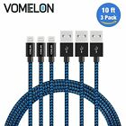 3 Pack 10FT Certified Lightning Charging Cable Sync for iPhone 7 6 6s Plus Black