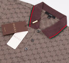 Polo Shirt Brown and Blue with GG Printed Mens Gucci Short Sleeve Cotton T-Shirt