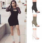 Ladies Women Ankle Boots Perspex High Heel Peep Toe Zip Casual Fashion Shoes 3-9