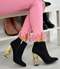 Womens Ladies Ankle Boots Block Luxury Gold Heels Zip Party Shoes Size Uk 3-8