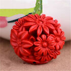 Beautiful Red Cinnabar Carved Flower Pendant Beads DIY Jewelry Gift 8 Styles
