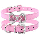 Cute Rhinestone Bowknot Leather Dog Collar Crystal for Pet Puppy Cat Chihuahua