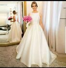 UK White/Ivory Pearls Crystal Sleeveless Ball Gown Wedding Dresses Sizes 6-22