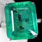 Women 925 Silver Jewelry Huge Emerald Gem Wedding Band Ring Engagement Size 6-10