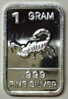 "Silver Lot: "" SCORPION ""/ 1 Gram .999 Fine Solid Silver Bullion Artbar, New Mint"