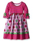 Bonnie Jean Pink and Red Striped with Ornament Print Holiday Dress