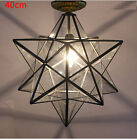 Transparent Glass Moravian Star Ceiling Wall Lamp Flush Mount Iron Lighting Lamp