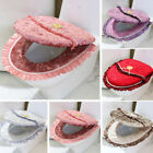 Hot Toilet Seat/Lid Cover Set Durable Floral Lace Closestool Warm Pad Cloth 2PCS