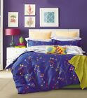 100% Premium Cotton Reversible Design Blue Floral Printed Duvet Cover Set  image