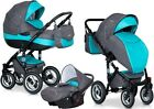 RIKO BRANO PRAM 3in1 CARRYCOT + PUSH CHAIR + CAR SEAT + EXTRAS !!! <br/> Rain cover+Large diaper bag+Hands warmer+Mosquito net