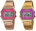 Montic Retro Vintage Gold tone Metal Digital Fashion Watch