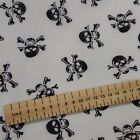 Skull and Crossbones White Polycotton fabric 44 inch / 110cm FQ Half Metres
