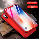 360° Shcokproof Case Thin Slim Hard Cover & Temper Glass Protecter  For iPhone X