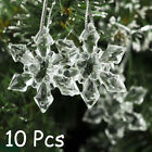 10x Crystal Christmas Snowflakes Ornaments Party Tree Hanging Decoration Xmas @m