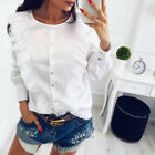 UK Fashion Womens Ladies Casual Long Sleeve Frill Ruffle Tops Blouse T-Shirt New without tags