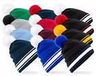 Warm Varsity College Stadium Soft Touch Bobble Pom Pom Ski Hat Winter Beanie