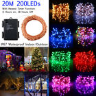 Battery Operated 20M 200Leds Copper Wire LED Fairy String Lights Timer Function