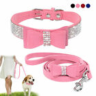 bow dog collar - Rhinestone Dog Collar and Leash Soft Suede Bow for Doggie Puppy Cat Small Pet