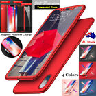 iPhone X 8 7 Plus Tempered Glass+ 360° Full Body Case Hard Shockproof Slim Cover