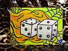 """Original Acrylic Painting on 5""""x7"""" Canvas TATTOO ART Dice Flame Spiderweb SIGNED"""
