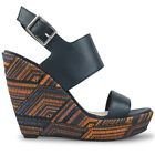 Wittner Ladies Shoes Navy Leather Wedges