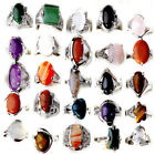 100-80Pcs Wholesale Jewelry Lots Natural Stone Silver Plated Rings Free Shipping