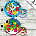 MR MEN ROUND EDIBLE BIRTHDAY CAKE TOPPER DECORATION PERSONALISED