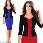 Women One-piece Faux Jacket Slim V-neck Contrast Work Office
