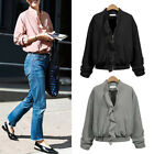 Women Ruffled Short Coat Zipper Solid Color Slim Jacket Casual Outcoat Outwear