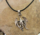 Large Fantasy Dragon Sterling Silver Pendant on Leather Necklace FairyTale Charm