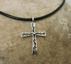 Heavy Cross Sterling Silver Pendant Leather Necklace Celtic Symbol Charm Christm