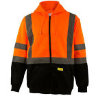 10pcs Men's ANSI Class 3 Sweatshirt, Full Zip Hooded, Fleece, Orange -H6611