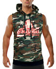 Men's Enjoy Christmas Santa Camo Sleeveless Vest Hoodie Ugly Sweater Holidays