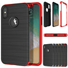 For Apple iPhone X Hybrid Thin Brushed 360 Hard Case Cover with Tempered Glass
